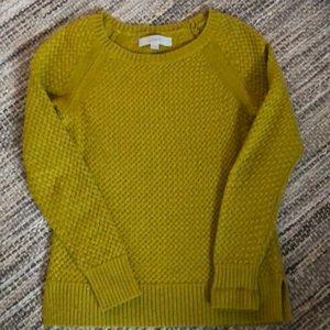 LOFT chartreuse women's sweater.